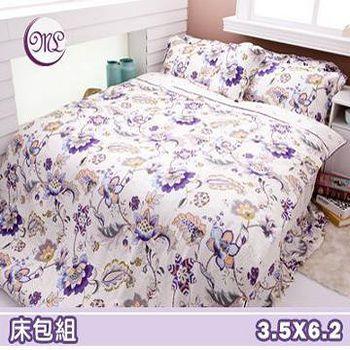 名流寢飾 100%天絲單人加大床包組 -藍卉紫雲