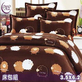 名流寢飾 100%精梳棉單人加大床包組 -快樂綿羊