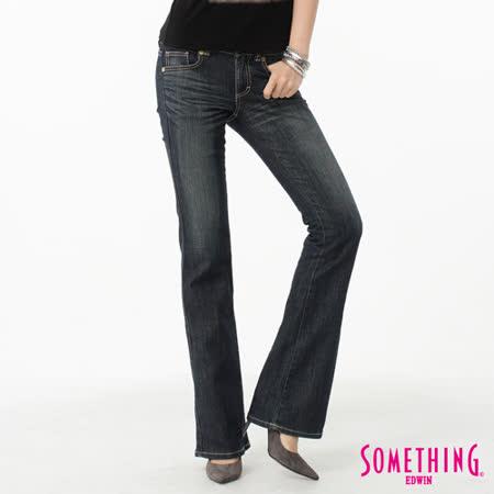 SOMETHING V.HIP提臀靴型牛仔褲-女-中古藍