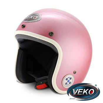 VEKO 藍芽4.0立體聲復古安全帽 (BTS-C2珠光粉紅)