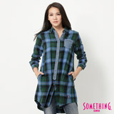 SOMETHING 拼接長版格紋襯衫-女-藍色