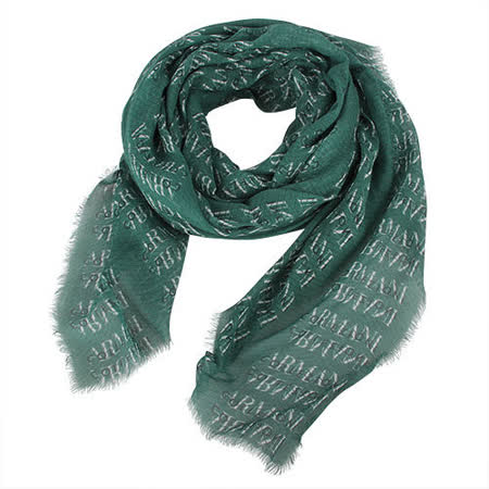 ARMANI COLLEZIONI 滿版Logo流蘇薄圍巾-綠色