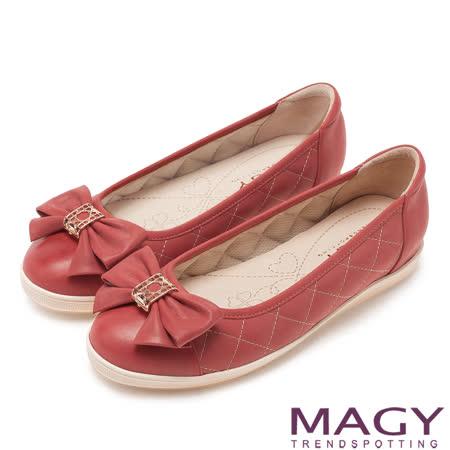 MAGY 清新甜美女孩 蝴蝶結菱格縫線平底鞋-紅色