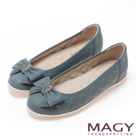 MAGY 清新甜美女孩 蝴蝶結菱格縫線平底鞋-淺藍