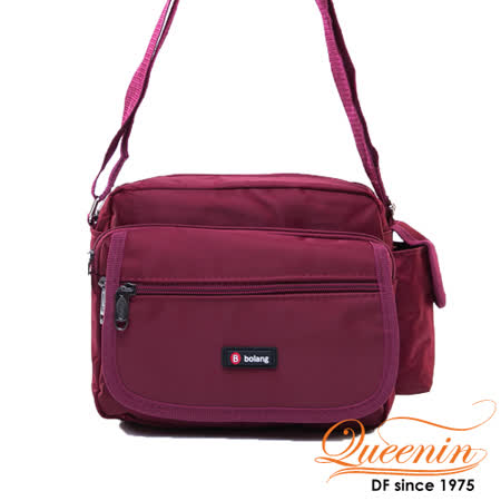 DF Queenin - 經典休閒系機能質感側背包-酒紅