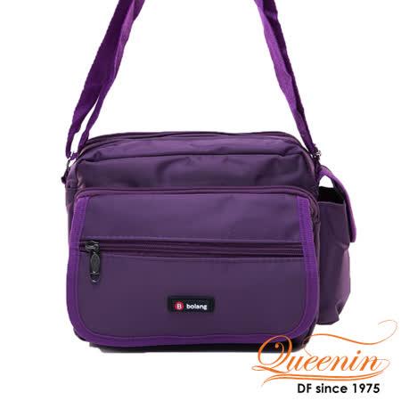 DF Queenin - 經典休閒系機能質感側背包-深紫