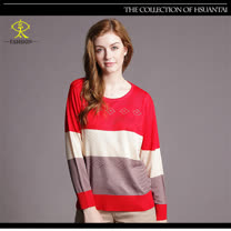 玄太-條紋配色燙鑽針織上衣(紅)