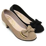 【Pretty】氣質雅緻蝴蝶結金屬飾扣高跟鞋