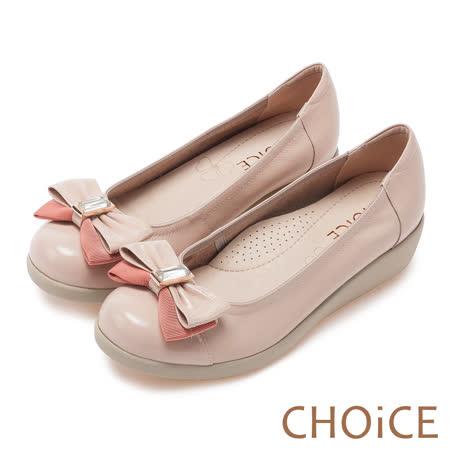 CHOiCE Q軟舒適優雅 皮革織帶立體蝴蝶結厚底鞋-粉紅