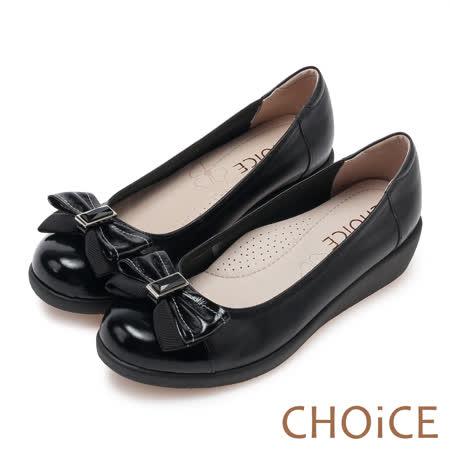 CHOiCE Q軟舒適優雅 皮革織帶立體蝴蝶結厚底鞋-黑色