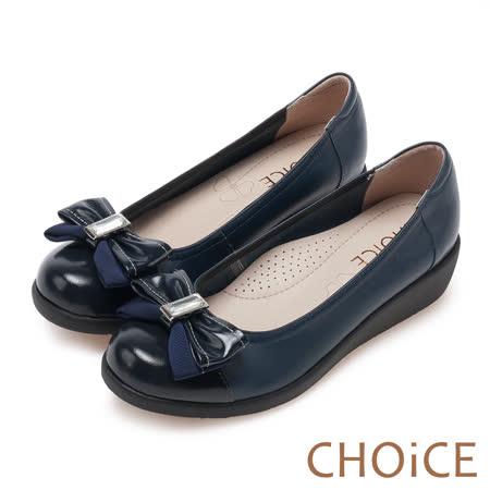 CHOiCE Q軟舒適優雅 皮革織帶立體蝴蝶結厚底鞋-深藍