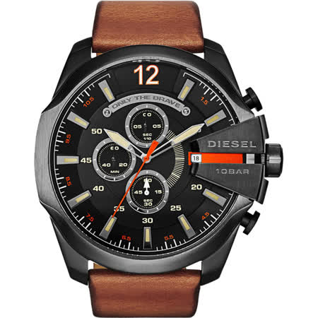 DIESEL Oniy The Brave 霸氣計時腕錶-黑x咖啡/51mm DZ4343