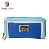 義大利Roberto Mocali藍色11卡拉鍊長夾RM-58205