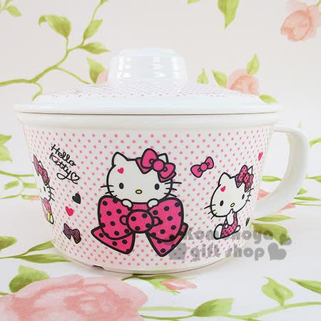 〔小禮堂〕Hello Kitty 美耐皿杯麵碗《白底.粉點點.拿冰淇淋.多動作.盒裝》不可微波