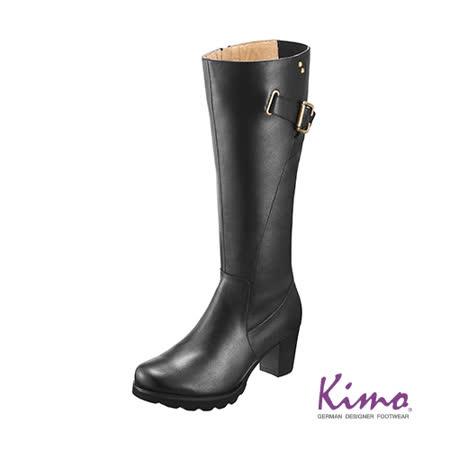【Kimo德國品牌手工氣墊鞋】個性真皮長靴_個性黑(K14WF058033)