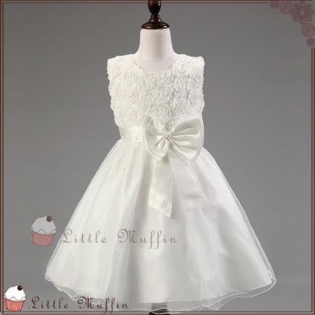 純白 立體玫瑰蝴蝶結無袖蓬蓬裙小禮服/洋裝 花童禮服