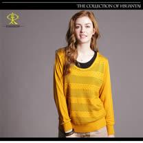 玄太-素雅織紋拼接配色針織上衣(黃)