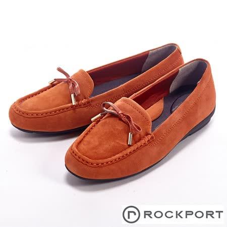 Rockport 都會休閒麂皮蝴蝶結莫卡辛女鞋-橘