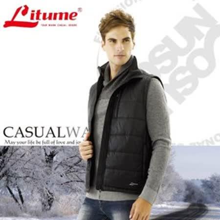 【意都美 Litume】男新款 Primaloft 超輕量透氣防風保溫棉背心_黑 H7029