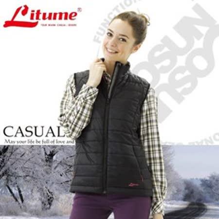 【意都美 Litume】女新款 Primaloft 超輕量透氣防風立領保溫棉背心(雙面穿)_黑 H7030