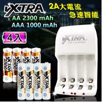 VXTRA 新經濟型2A大電流急速智能充電器+3號2300mAh低自放電池+4號高容量1000mAh低自放電池(各4顆入)