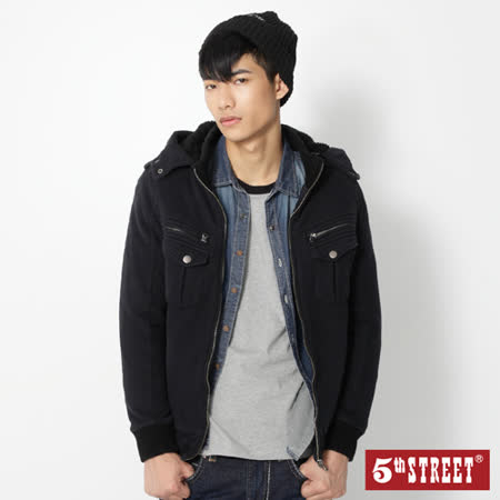 5th STREET 舖毛針織外套-男-黑色