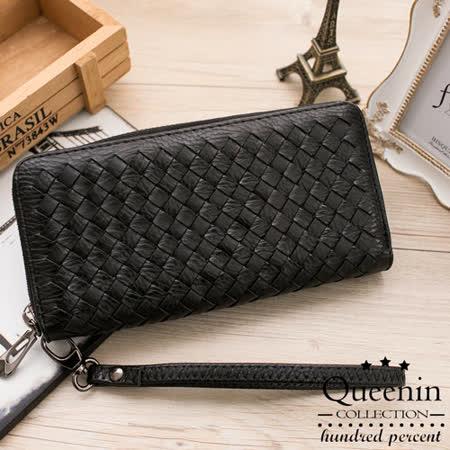 DF Queenin皮夾 - 個性女孩皮革編織款單拉鍊長夾-黑色
