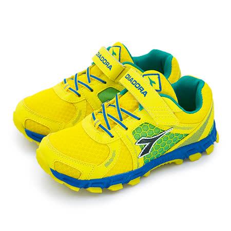 【中童】DIADORA 輕量慢跑鞋 狂放越野系列 黃藍綠 2593