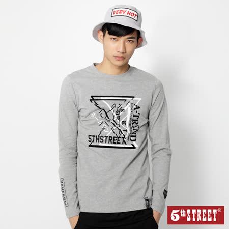 5th STREET 棒球系列長袖T恤-男-麻灰色