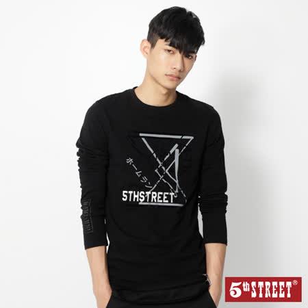 5th STREET 棒球系列長袖T恤-男-黑色