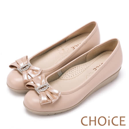 CHOiCE Q軟舒適優雅 鑽釦蝴蝶結牛皮包鞋-粉紅