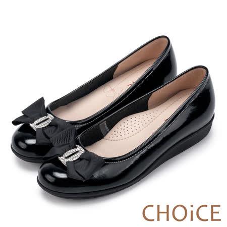 CHOiCE Q軟舒適優雅 鑽釦蝴蝶結鏡面牛皮包鞋-黑色