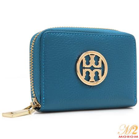 【MOROM】真皮品牌LOGO風琴式卡夾(藍色)9783