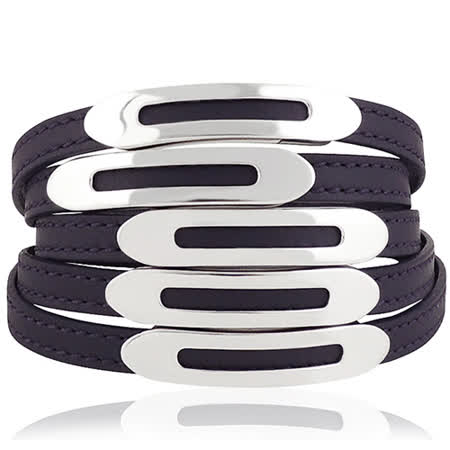 TODS 真皮壓紋六環釦手環-靛藍色【M/L號】