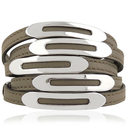 TODS 真皮壓紋六環釦手環-淺灰色【M號】