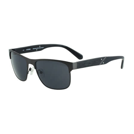GUESS-時尚中性太陽眼鏡(黑+槍色)