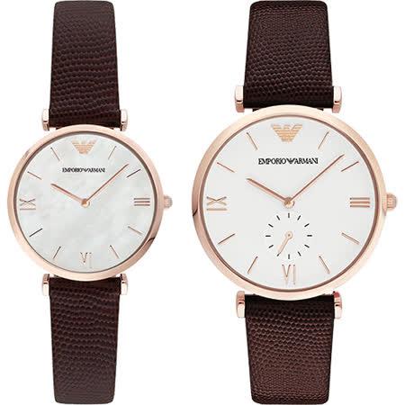 Emporio Armani 義式浪漫情人對錶-玫瑰金框x咖啡/40+32mm AR9042