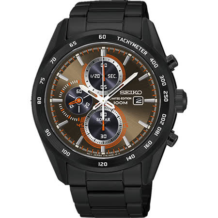 SEIKO Criteria 限量炫彩太陽能計時碼錶-棕x黑/43mm V176-0AP0B(SSC415P1)