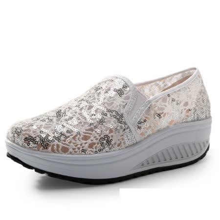 【Maya easy】增高搖擺鞋夏綿蕾絲繡亮片紗網透氣料走路鞋 布鞋-白色