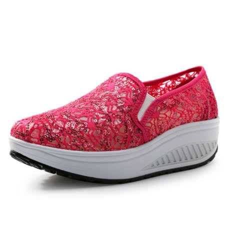 【Maya easy】增高搖擺鞋夏綿蕾絲繡亮片紗網透氣料走路鞋 布鞋-玫紅色