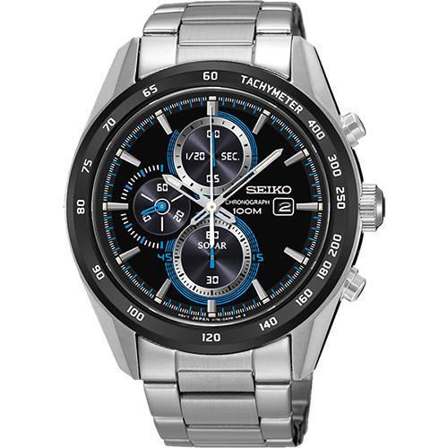 SEIKO Criteria 炫彩太陽能計時碼錶~黑43mm V176~0AL0S^(SS