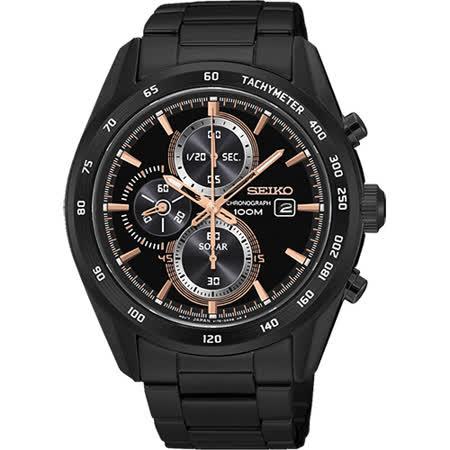 SEIKO Criteria 炫彩太陽能計時碼錶-黑x玫瑰金/43mm V176-0AL0P(SSC417P1)