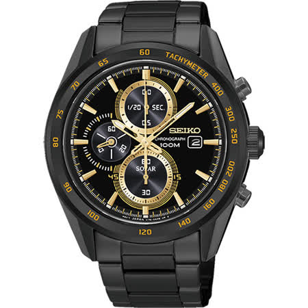 SEIKO Criteria 炫彩太陽能計時碼錶-黑x金時標/43mm V176-0AL0K(SSC409P1)