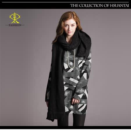 玄太-滿版幾何圖形長版上衣(黑)