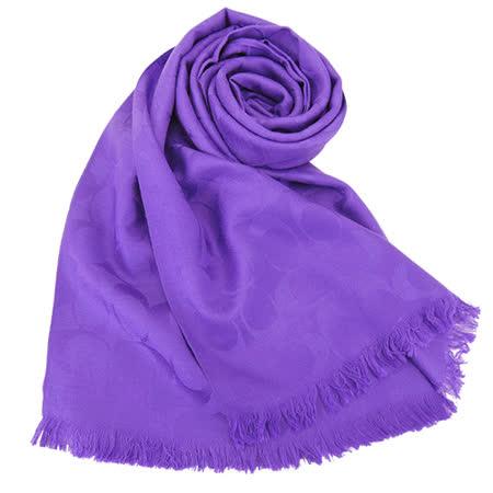 COACH C LOGO 羊毛混絲流蘇圍巾(紫)