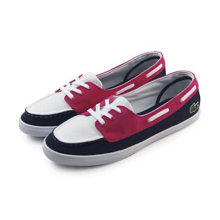(女)LACOSTE ZIANE DECK PIQ SPW DK BLU/PNK TEXTILE 休閒鞋 深藍/螢光粉/白-PW2211-2N3