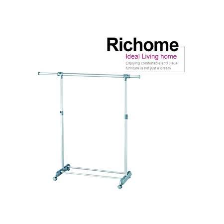 【RICHOME】閃銀單桿伸縮衣架-銀色