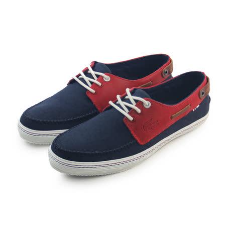 (男)LACOSTE SUMAC 6 AP SRM NVY/RED CNV/LTH 休閒鞋 深藍/紅-RM0091-144