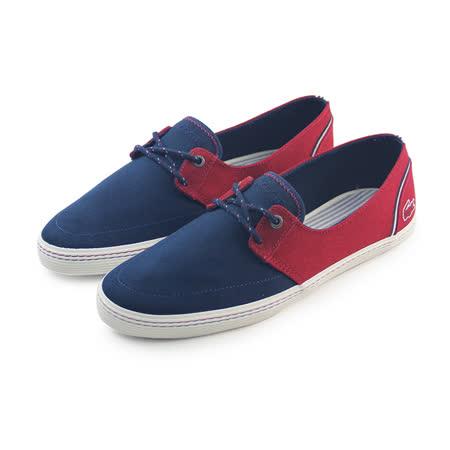 (男)LACOSTE BARDOS 5 AP SRM DK BLU/RED CANVAS 休閒鞋 紅/深藍-RM2133-1P4