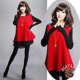 【Maya 名媛】(M~4XL)冬季針織毛衣料多層次感大碼連衣裙-紅色